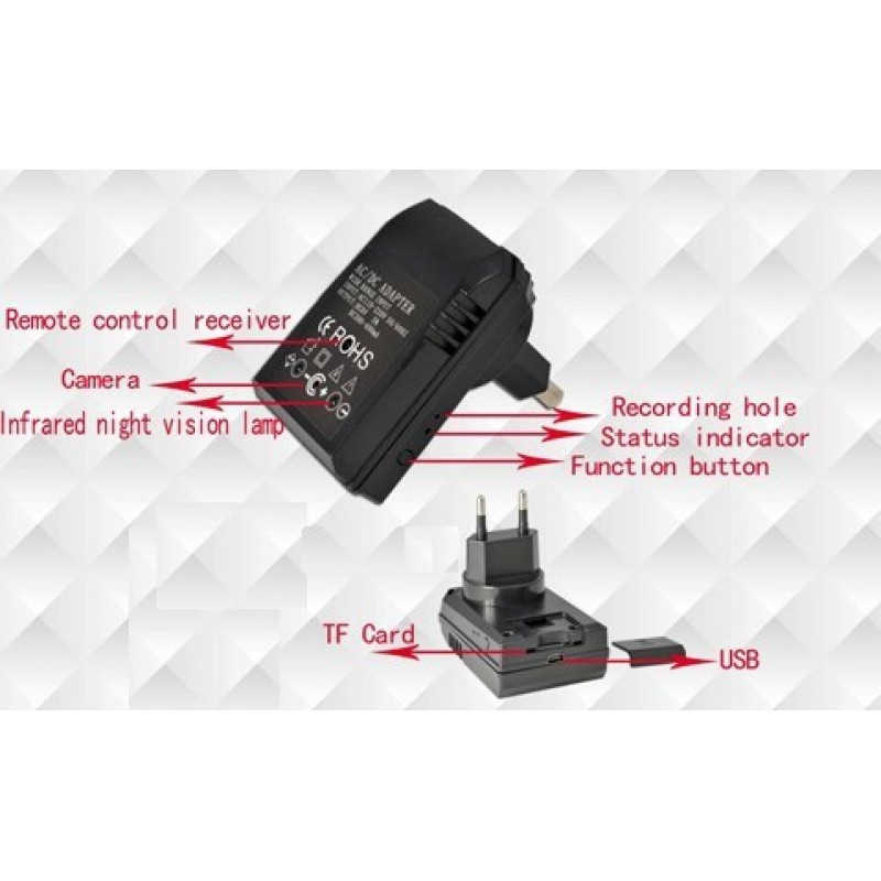 Other Hidden Cameras Universal adapter with spy camera. IR Night vision. Motion detection. TF Card slot 720P HD