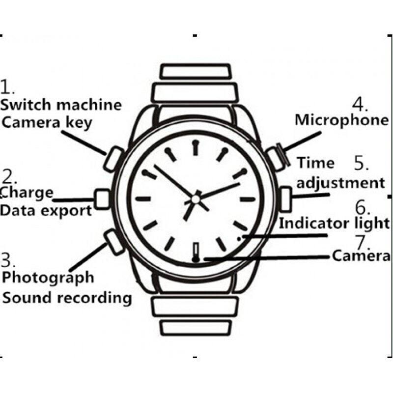 Montres à Bracelet Espion Montre caméra espion. Caméra de sécurité cachée. Enregistreur audio / vidéo. Mini enregistreur vidéo numérique (DVR). Argent / O 8 Gb 480P HD