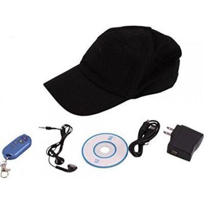 64,95 € Spedizione Gratuita | Altre Telecamere Nascoste Telecamera per cappello spia. Versione 3 in 1. Telecamera nascosta. MP3. Bluetooth 1080P Full HD