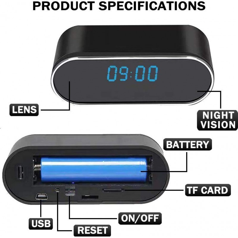 74,95 € Envoi gratuit | Montres Espion Caméra Espion Cachée. Horloge Caméra Cachée. Sans fil. Caméra de surveillance IP. Sécurité à domicile