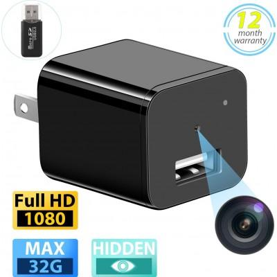 39,95 € 免费送货 | 其他隐藏的相机 间谍相机。 USB壁式充电器。全高清1080P迷你隐藏保姆cam。监控摄像头