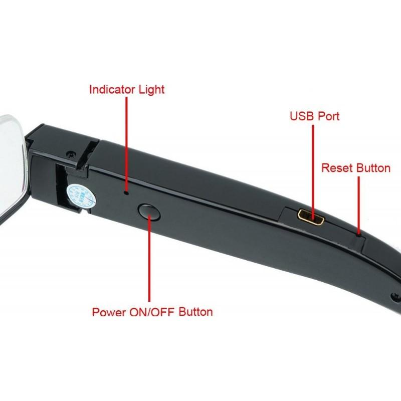 57,95 € Envoi gratuit | Clé USB Espion Lunettes avec caméra cachée. Caméscope Mini DV. Magnétoscope. 16 GB. 1920x1080P