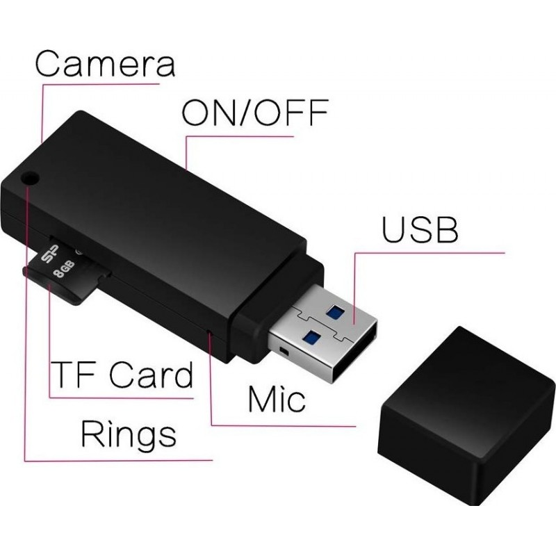 39,95 € Free Shipping | USB Drive Hidden Cameras USB Key with Mini Spy Camera. HD video. 1080P. 8GB. Micro. Video Recorder with Sound