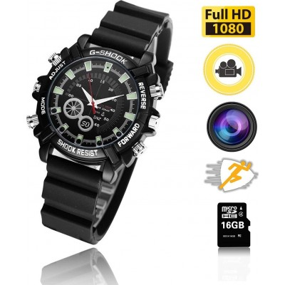 Watch with Multifunction Camera. HD 1080P. Mini 16G. Night Vision. Rechargeable. Easy Operation
