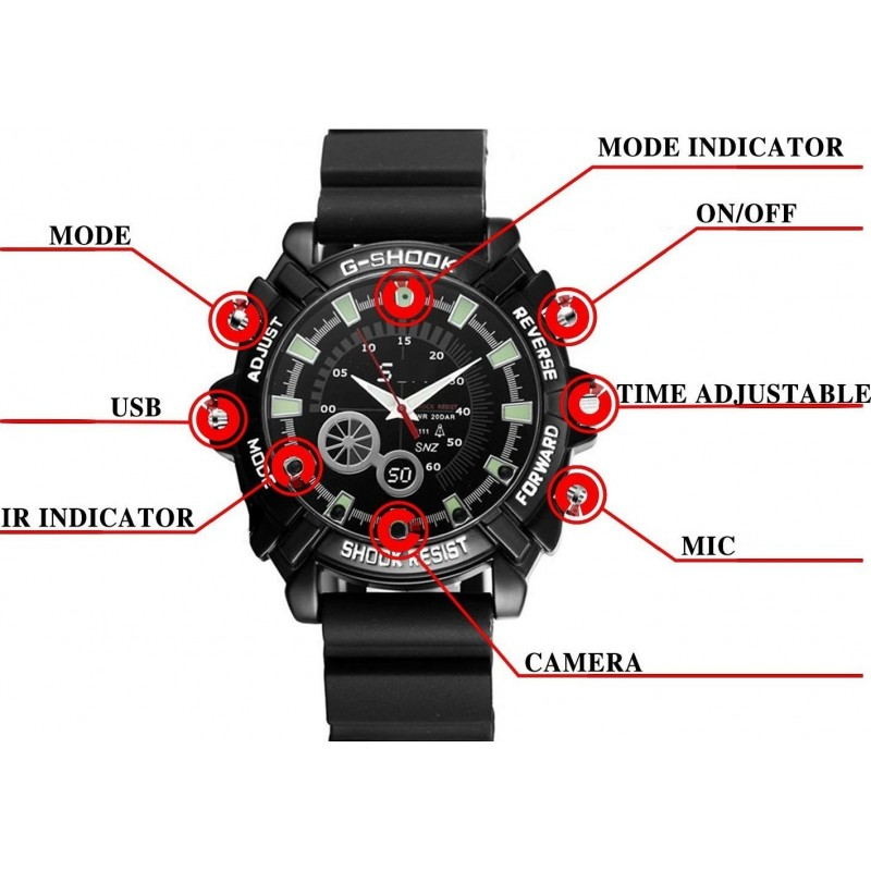 22,95 € Free Shipping | Watch Hidden Cameras Watch with Multifunction Camera. HD 1080P. Mini 16G. Night Vision. Rechargeable. Easy Operation