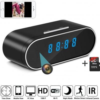 54,95 € 免费送货 | 时钟隐藏的相机 隐藏的间谍相机时钟。高清1080P。无线上网。夜间视力。运动检测。监视。 16GB SD
