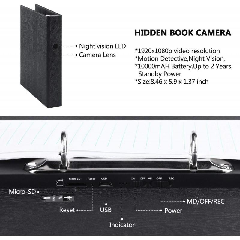 66,95 € Envoi gratuit | Gadgets Espion Dossier avec caméra espion. HD 1080P. Caméra cachée. Magnétoscope. Cam de sécurité à domicile