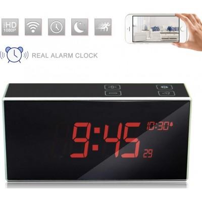 66,95 € 免费送货 | 时钟隐藏的相机 隐藏的照相机的白色闹钟。触控键。 DVR。夜间视力。 160°广角。运动检测。无线上网。高画质