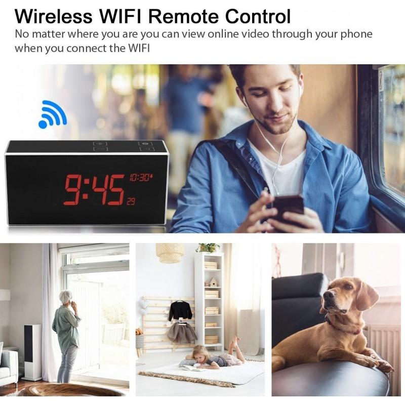 66,95 € Envio grátis | Relógios Espiã Despertador Com Câmera Escondida. TouchKey. DVR. Visão noturna. Grande angular de 160 °. Detector de movimento. Wi-fi. HD