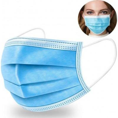 Boîte de 200 unités Masque hygiénique facial jetable. Protection respiratoire. Respirant avec filtre 3 couches