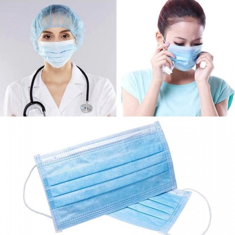 200 Einheiten Box Atemschutzmasken Einweg-Hygienemaske für das Gesicht. Atemschutz. Atmungsaktiv mit 3-Lagen-Filter