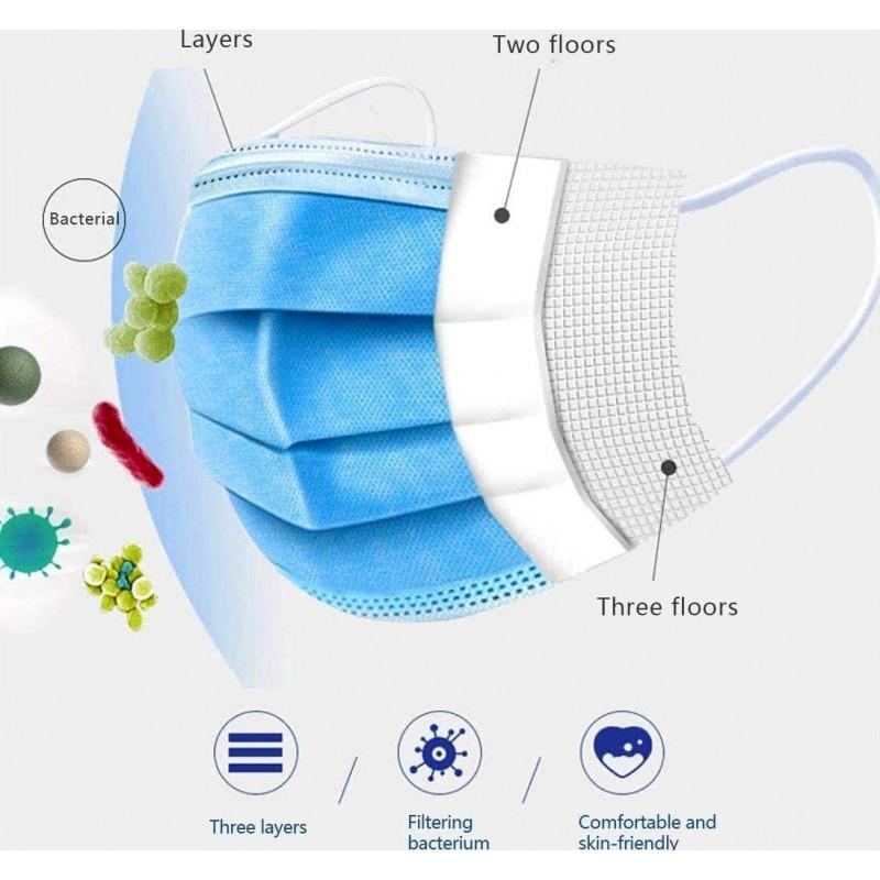 Boîte de 200 unités Masques Protection Respiratoire Masque hygiénique facial jetable. Protection respiratoire. Respirant avec filtre 3 couches