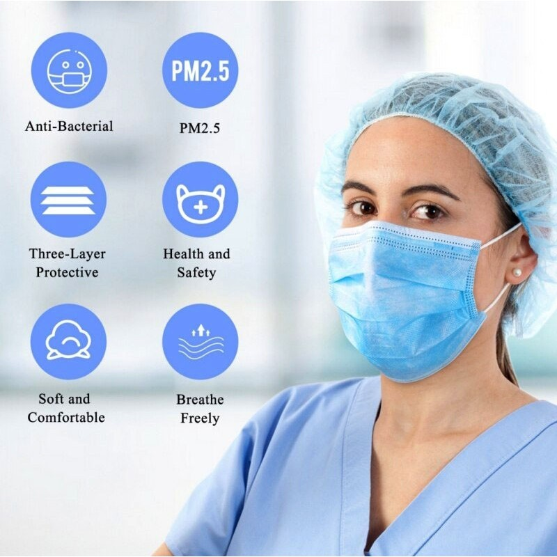 Caixa de 200 unidades Máscaras Proteção Respiratória Máscara sanitária facial descartável. Proteção respiratória. Respirável com filtro de 3 camadas