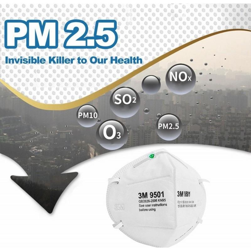 99,95 € Spedizione Gratuita | Scatola da 10 unità Maschere Protezione Respiratorie 3M Modello 9501 KN95 FFP2. Maschera di protezione delle vie respiratorie. Maschera antinquinamento PM2.5. Filtro antiparticolato