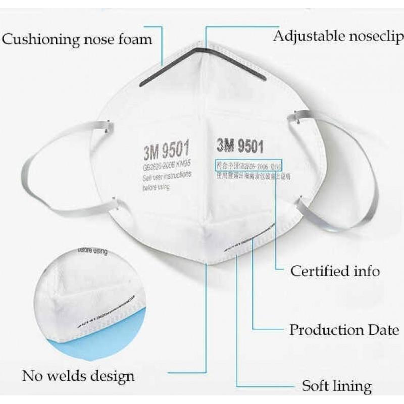 139,95 € 免费送货 | 盒装20个 呼吸防护面罩 3M 型号9501 KN95 FFP2。呼吸防护面罩。 PM2.5防污染口罩。颗粒过滤器防毒面具