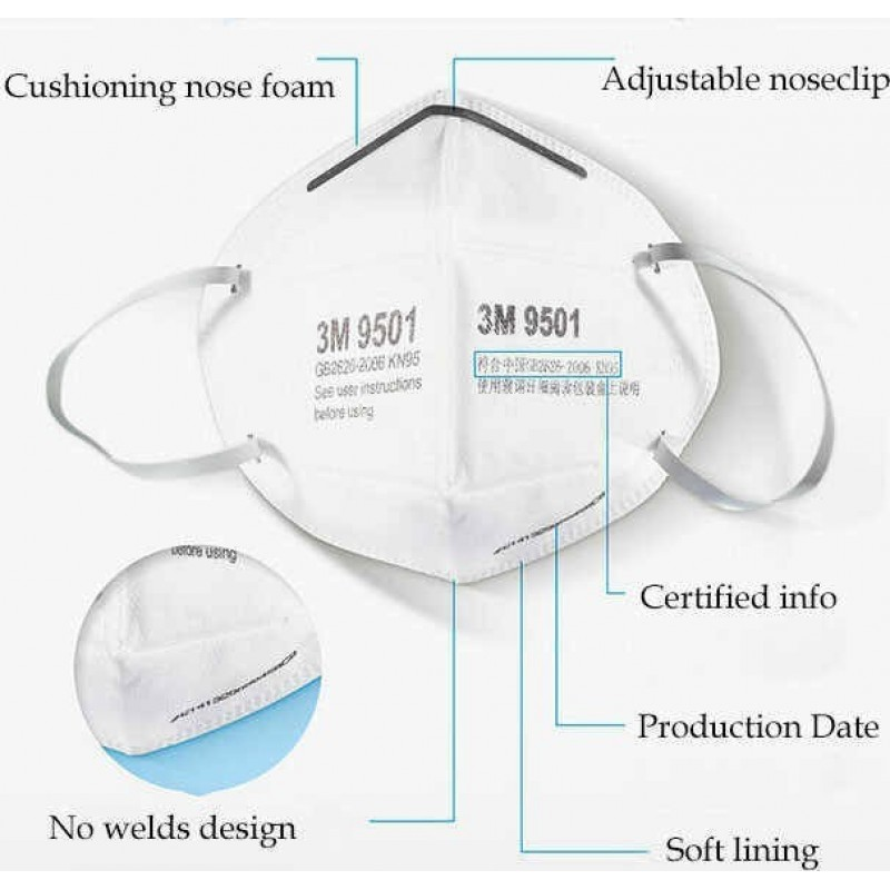 155,95 € Free Shipping | 20 units box Respiratory Protection Masks 3M Model 9501 KN95 FFP2. Respiratory protection mask. PM2.5 anti-pollution mask. Particle filter respirator