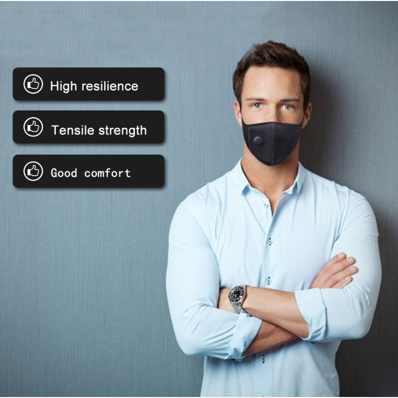 Коробка из 10 единиц Респираторные защитные маски Фильтровальная маска с активированным углем с дыхательным клапаном. PM2.5. Моющаяся и многоразовая хлопковая маска. унисекс