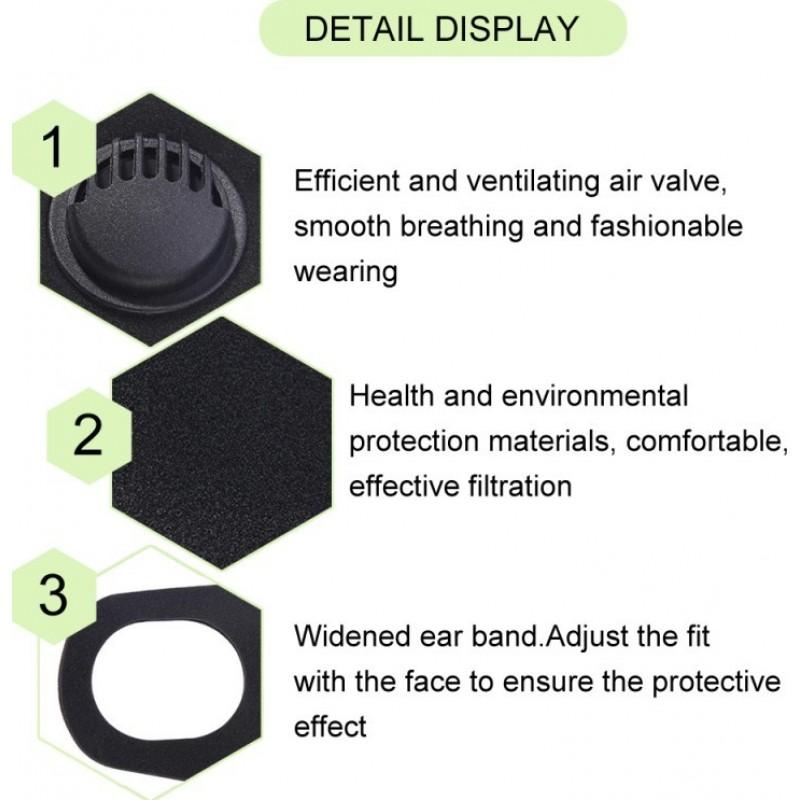 84,95 € 送料無料 | 20個入りボックス 呼吸保護マスク 呼吸弁付き活性炭フィルターマスク。 PM2.5。洗える、再利用可能な綿のマスク。ユニセックス