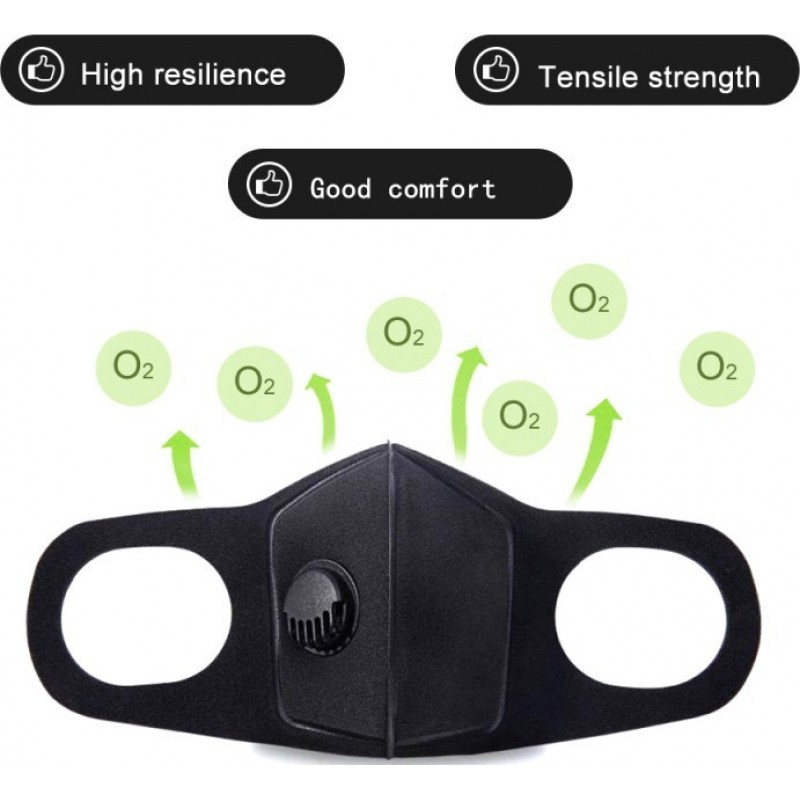 84,95 € Envio grátis | Caixa de 20 unidades Máscaras Proteção Respiratória Máscara de filtro de carvão ativado com válvula de respiração. PM2.5. Máscara de algodão lavável e reutilizável. Unissex