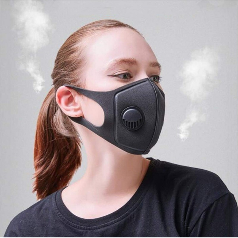 159,95 € 免费送货 | 盒装50个 呼吸防护面罩 带有呼吸阀的活性炭过滤器面罩。 PM2.5。可水洗和可重复使用的棉质口罩。男女通用