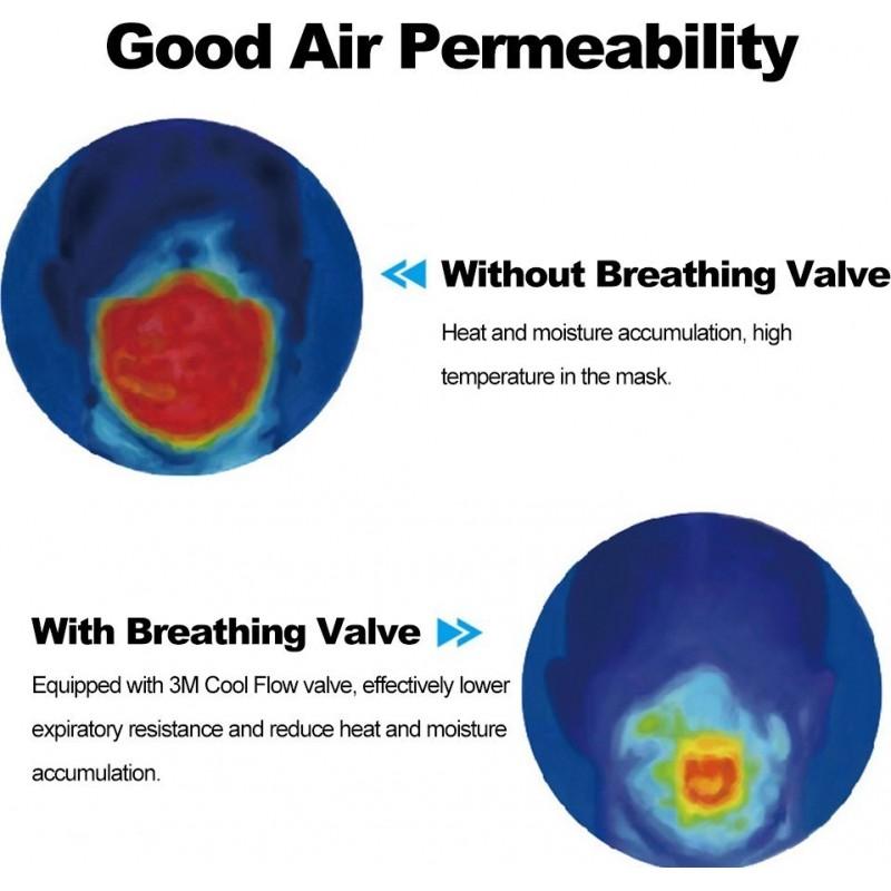 599,95 € 免费送货 | 盒装100个 呼吸防护面罩 3M 9501V+ KN95 FFP2。带阀门的呼吸防护面罩。 PM2.5颗粒过滤式防毒面具