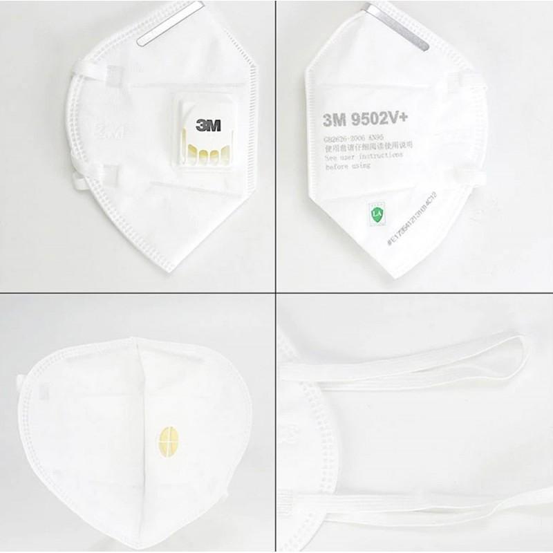 349,95 € 免费送货 | 盒装50个 呼吸防护面罩 3M 3M 9502V+ KN95 FFP2带有阀的呼吸防护面罩。 PM2.5颗粒过滤式防毒面具