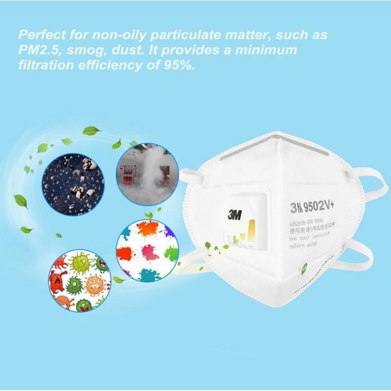 349,95 € Бесплатная доставка   Коробка из 50 единиц Респираторные защитные маски 3M 3M 9502V+ KN95 FFP2 Респираторная защитная маска с клапаном. PM2.5 Респиратор с фильтром частиц