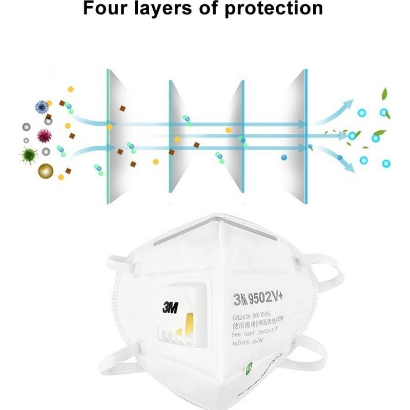 599,95 € Бесплатная доставка | Коробка из 100 единиц Респираторные защитные маски 3M 3M 9502V+ KN95 FFP2 Респираторная защитная маска с клапаном. PM2.5 Респиратор с фильтром частиц