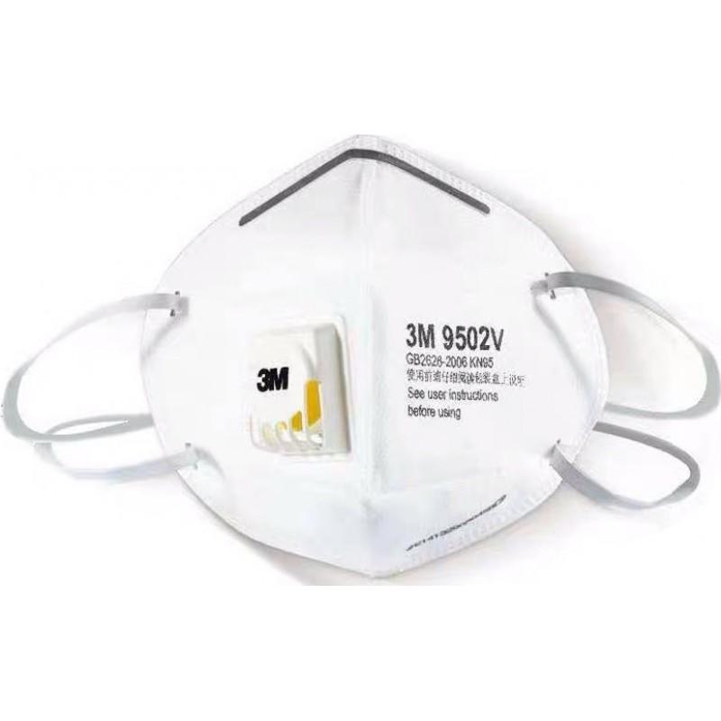 599,95 € 免费送货 | 盒装100个 呼吸防护面罩 3M 9502V KN95 FFP2。带阀门的呼吸防护面罩。 PM2.5颗粒过滤式防毒面具