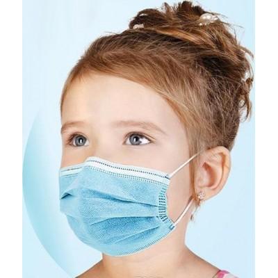Scatola da 100 unità Maschera usa e getta per bambini. Protezione respiratoria. 3 strati. Anti-influenza. Traspirante. Nonwoven material. PM2.5
