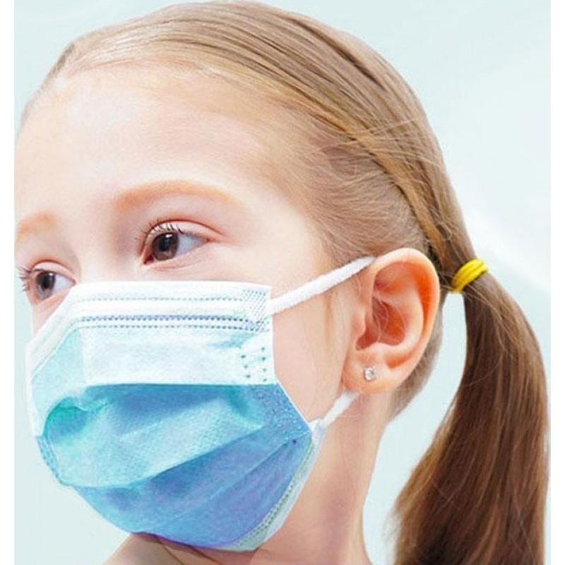 Caja de 100 unidades Mascarillas Protección Respiratoria Mascarilla desechable para niños. Protección respiratoria. 3 capas. Antigripal. Suave. Transpirable. Nonwoven material. PM2.5