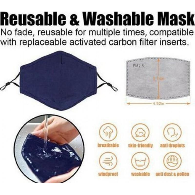 10 Einheiten Box Atemschutzmasken Gittermuster. Wiederverwendbare Atemschutzmasken mit 100 Stück Kohlefilter