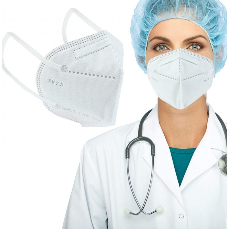 299,95 € 免费送货 | 盒装500个 呼吸防护面罩 KN95 95%过滤。防护口罩。 PM2.5。五层保护。抗感染病毒和细菌