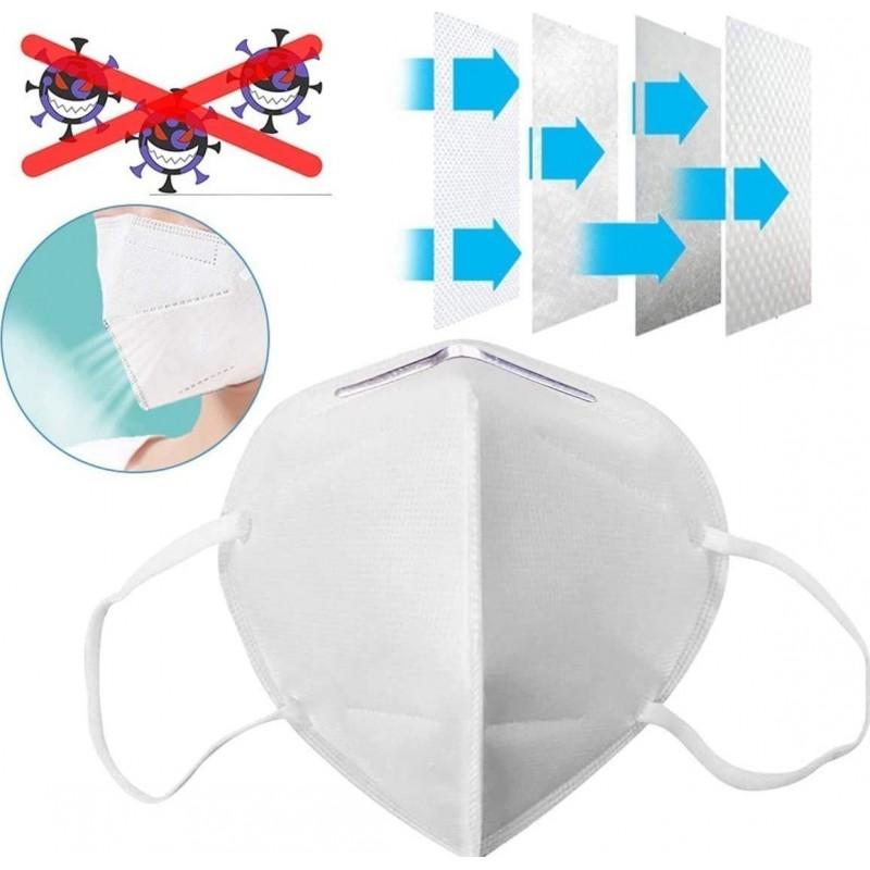 169,95 € 免费送货 | 盒装200个 呼吸防护面罩 KN95 95%过滤。防护口罩。 PM2.5。五层保护。抗感染病毒和细菌