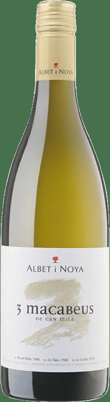 9,95 € Envío gratis | Vino blanco Albet i Noya 3 Macabeus D.O. Penedès Cataluña España Macabeo Botella 75 cl