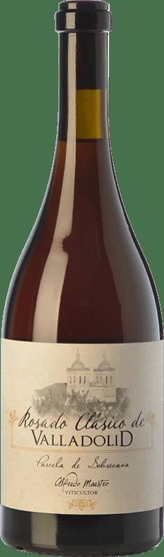 15,95 € Free Shipping | Rosé wine Maestro Tejero Clásico Valladolid Parcela Sobrecasa D.O. Cigales Castilla y León Spain Tempranillo, Grenache, Muscatel, Palomino Fino, Verdejo Bottle 75 cl