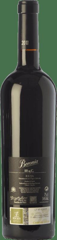 71,95 € Free Shipping | Red wine Beronia III A.C. Crianza D.O.Ca. Rioja The Rioja Spain Tempranillo, Graciano, Mazuelo Bottle 75 cl