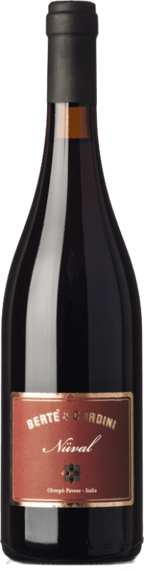 12,95 € Free Shipping | Red wine Bertè & Cordini Nuval D.O.C. Oltrepò Pavese Lombardia Italy Pinot Black Bottle 75 cl