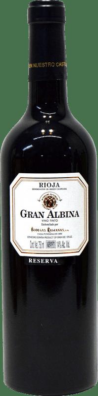 33,95 € Envoi gratuit | Vin rouge Bodegas Riojanas Gran Albina Reserva D.O.Ca. Rioja La Rioja Espagne Tempranillo, Graciano, Mazuelo Bouteille 75 cl