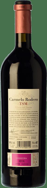 69,95 € Free Shipping   Red wine Carmelo Rodero TSM Crianza D.O. Ribera del Duero Castilla y León Spain Tempranillo, Merlot, Cabernet Sauvignon Bottle 75 cl