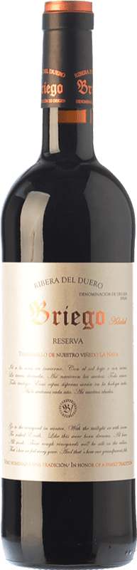 19,95 € Free Shipping | Red wine Briego Adalid Reserva D.O. Ribera del Duero Castilla y León Spain Tempranillo Bottle 75 cl