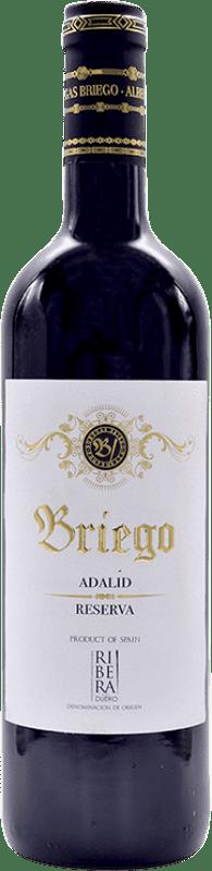 19,95 € Envío gratis | Vino tinto Briego Adalid Reserva D.O. Ribera del Duero Castilla y León España Tempranillo Botella 75 cl