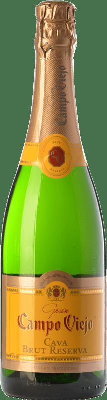9,95 € 免费送货 | 白起泡酒 Campo Viejo Gran 香槟 Reserva D.O. Cava 加泰罗尼亚 西班牙 Macabeo, Xarel·lo, Parellada 瓶子 75 cl