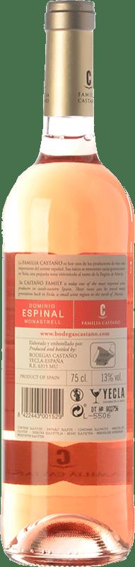 5,95 € Free Shipping | Rosé wine Castaño Dominio de Espinal Joven D.O. Yecla Region of Murcia Spain Macabeo Bottle 75 cl