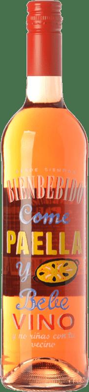 6,95 € Free Shipping | Rosé wine Castillo de Maetierra Come Paella y Bebe Vino I.G.P. Vino de la Tierra Valles de Sadacia The Rioja Spain Merlot, Muscatel Small Grain Bottle 75 cl