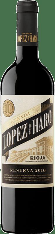 18,95 € 免费送货 | 红酒 Classica Hacienda López de Haro Crianza D.O.Ca. Rioja 拉里奥哈 西班牙 Tempranillo, Grenache, Graciano 瓶子 Magnum 1,5 L