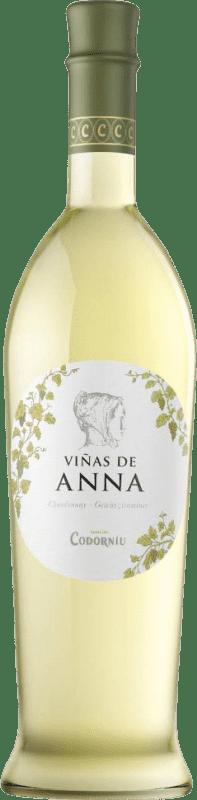 8,95 € Free Shipping | White wine Codorníu Viñas de Anna Blanc de Blancs Crianza D.O. Catalunya Catalonia Spain Muscatel, Chardonnay Bottle 75 cl