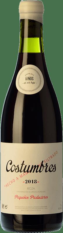 18,95 € 免费送货 | 红酒 En Voz Baja Costumbres Crianza D.O.Ca. Rioja 拉里奥哈 西班牙 Grenache 瓶子 75 cl