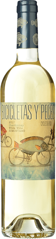 7,95 € Free Shipping | White wine Family Owned Bicicletas y Peces D.O. Somontano Aragon Spain Chardonnay Bottle 75 cl