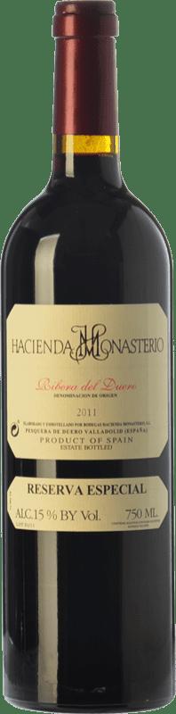 89,95 € Envío gratis | Vino tinto Hacienda Monasterio Especial Reserva D.O. Ribera del Duero Castilla y León España Tempranillo, Cabernet Sauvignon Botella 75 cl